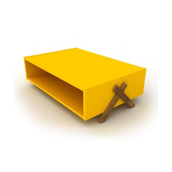 Żółty stolik z dekorem drewna orzechowego Rafevi Tars