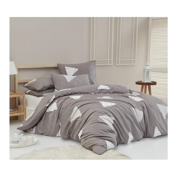 Lenjerie de pat cu cearșaf din bumbac ranforce, pentru pat dublu Mijolnir Bubu Grey, 160 x 220 cm