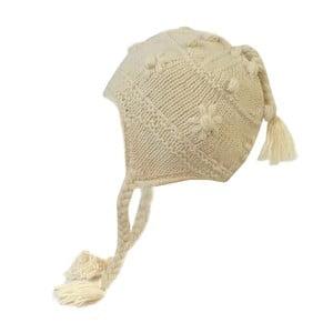 Vlněná čepice s ušima Bílá dekorovaná