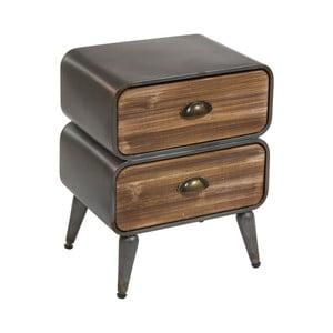 Noční stolek z jedlového dřeva a kovu s 2 šuplíky Santiago Pons London Industrial