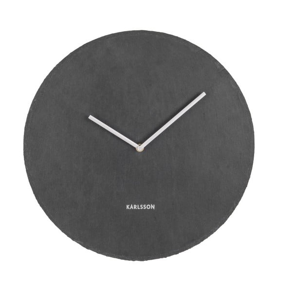 Černé nástěnné břidlicové hodiny Karlsson Slate, ⌀40 cm