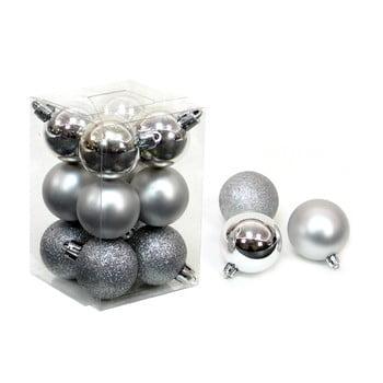 Set 12 decorațiuni de Crăciun Unimasa Navidad, argintiu imagine