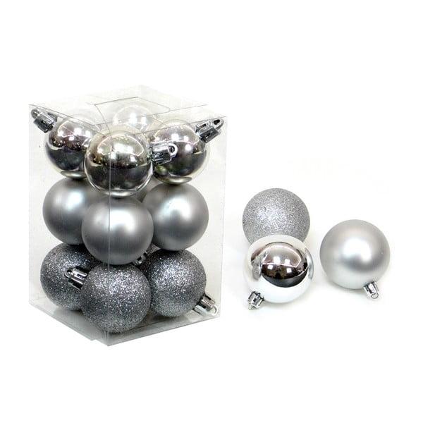 Navidad 12 db-os ezüstszínű karácsonyfadísz szett - Unimasa