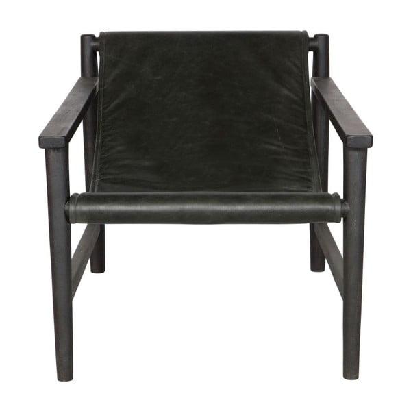 Černé kožené křeslo De Eekhoorn Sling