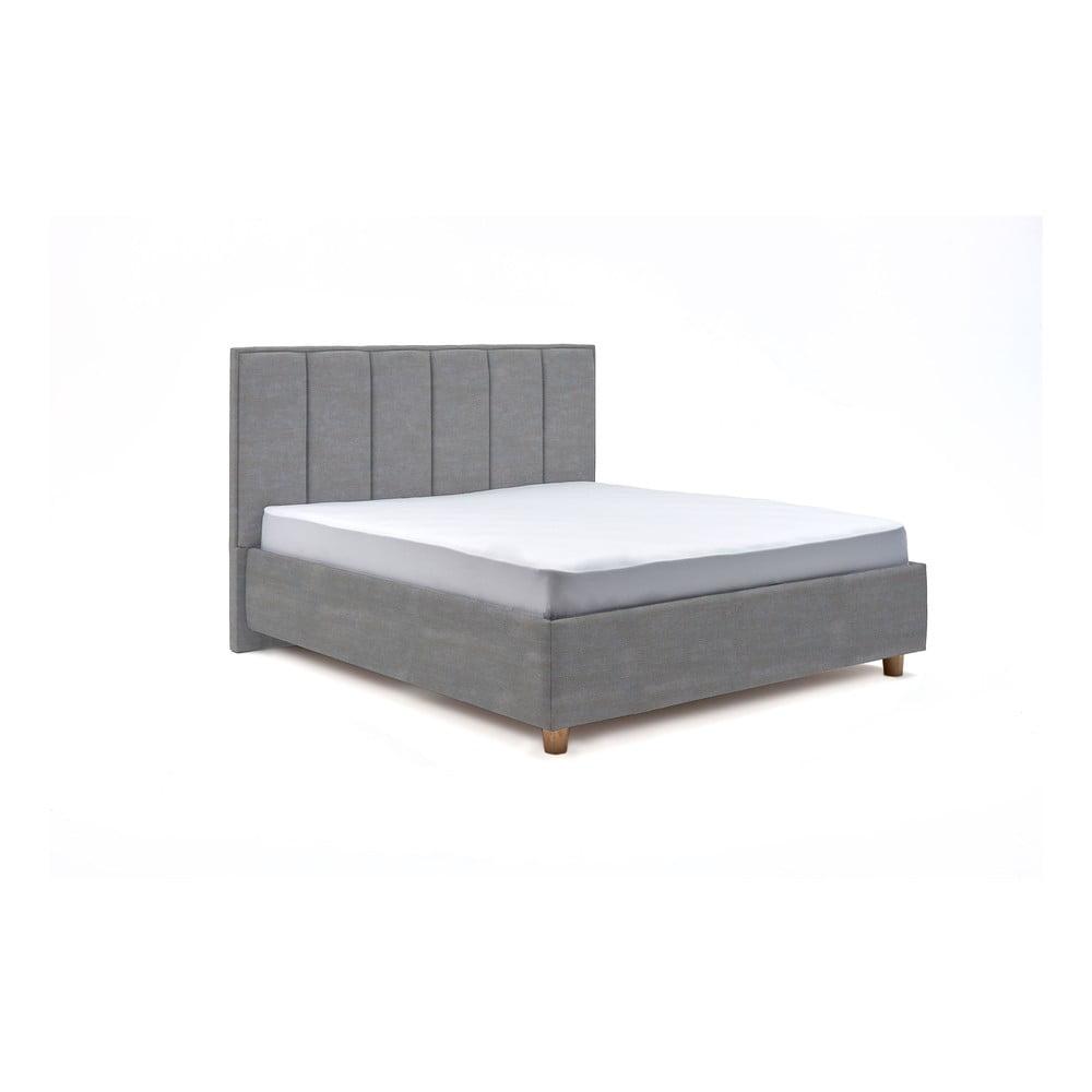 Světle modrá dvoulůžková postel s úložným prostorem ProSpánek Wega, 180 x 200 cm