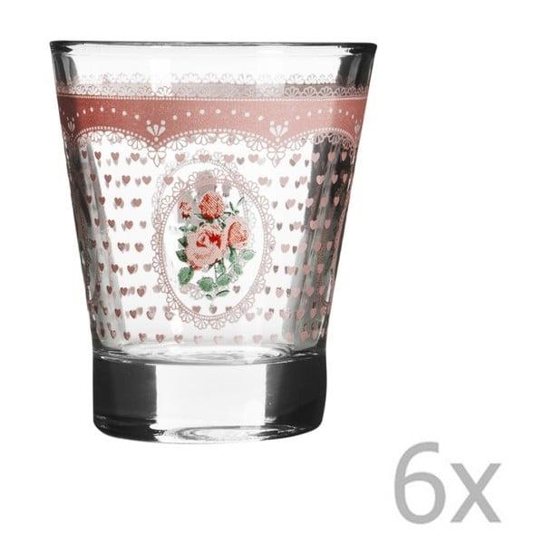 Zestaw 6 szklanek z różową różą Mexico