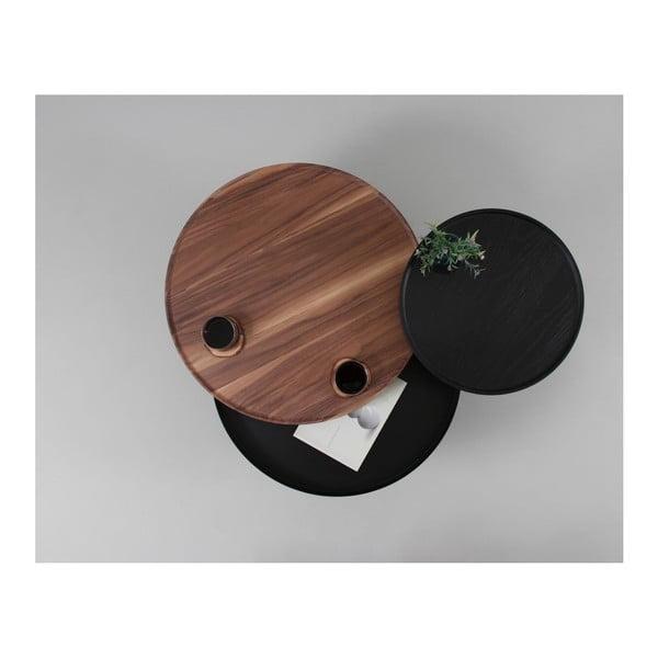 Hnědý odkládací stolek z dubového dřeva s černými detaily a úložným prostorem Woodendot Batea M