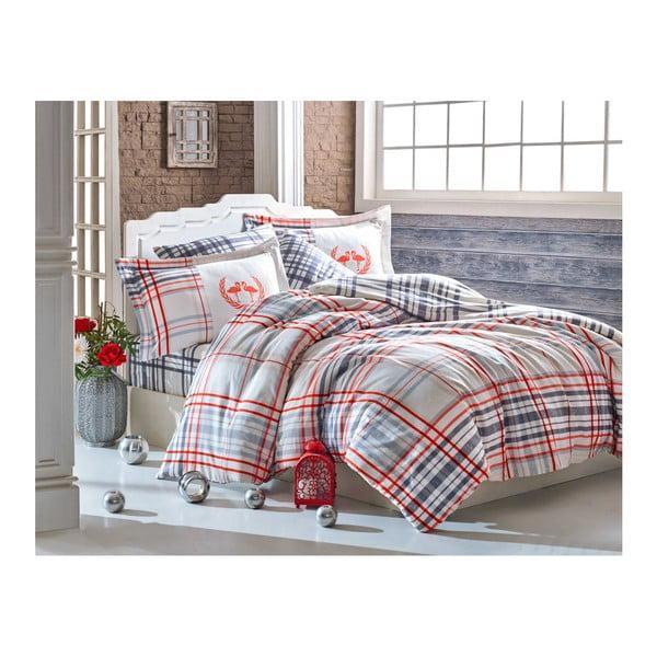Lenjerie din bumbac și cearșaf pentru pat dublu Fiorella,200x220cm, multicolor