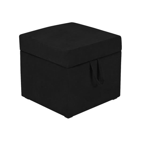 Černá taburetka s úložným prostorem KICOTI Cube