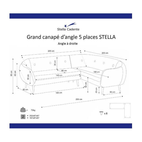 Tmavě žlutá rohová trojmístná pohovka Scandi by Stella Cadente Maison, pravý roh