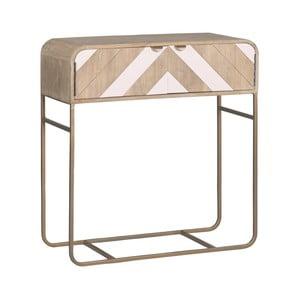 Konzolový stolek z masivního mangového dřeva s růžovými detaily Woodjam Chevron