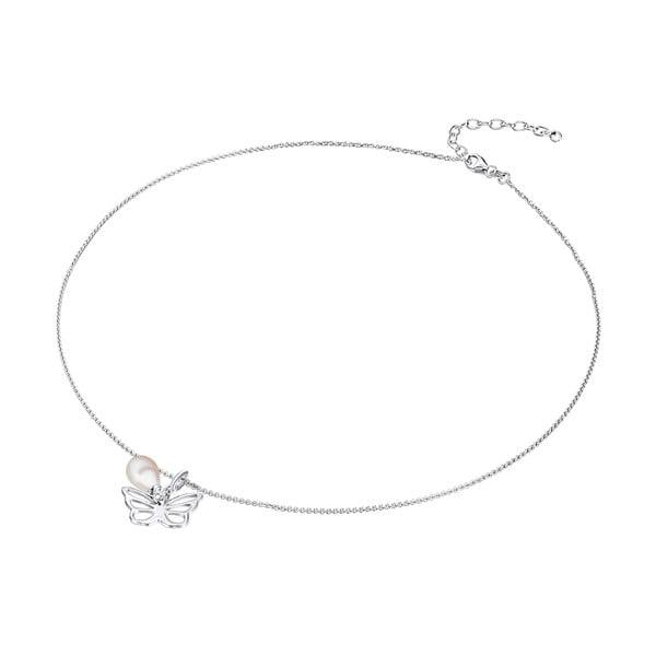 Stříbrný náhrdelník s přívěskem a perlou Chakra Pearls Butterfly, 42 cm