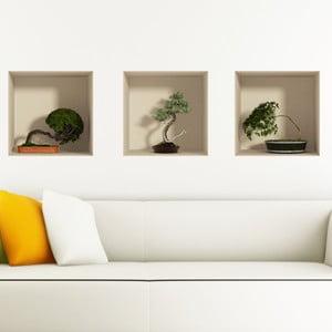 Set 3 autocolante cu efect 3D Ambiance Bonsais