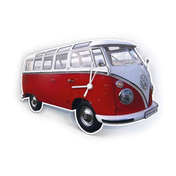 Nástěnné hodiny VW Camper, červené