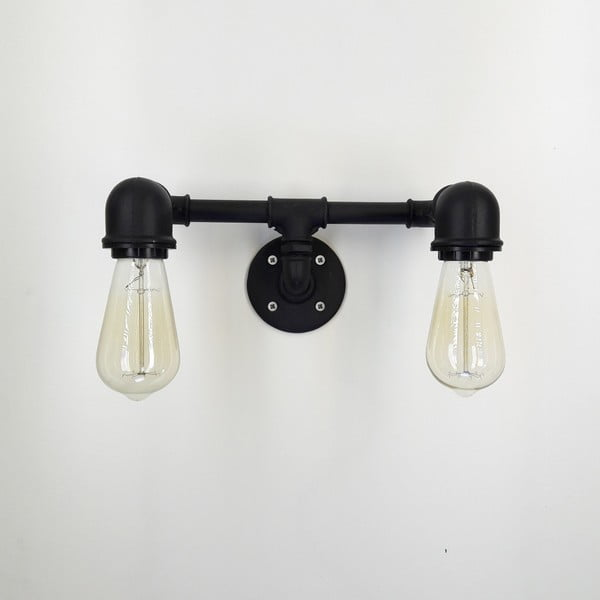 Čierne nástenné svietidlo Aplik Lento