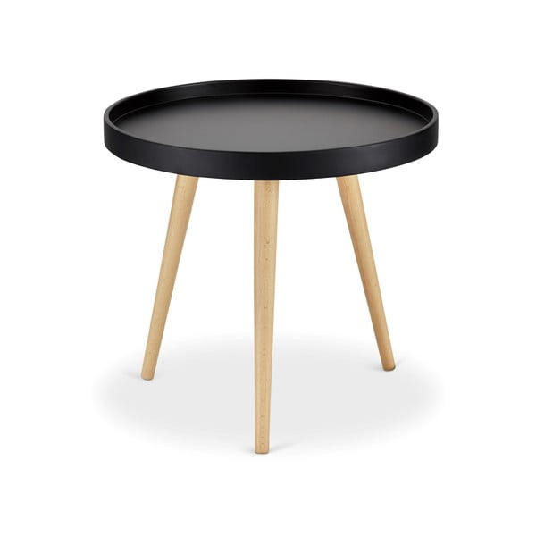Czarny stolik z nogami z drewna bukowego Furnhouse Opus, Ø 50 cm