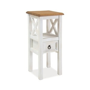 Bílý odkládací stolek z borovicového dřeva Signal Poprad