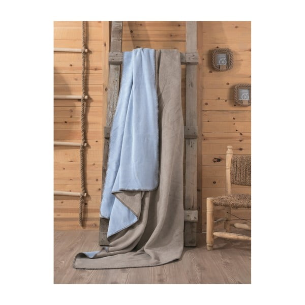 Hnědo-modrá deka Tobby, 200x220cm