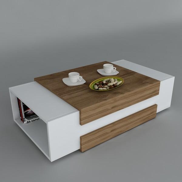 Konferenční stolek Nora White/Walnut, 61x110x31 cm
