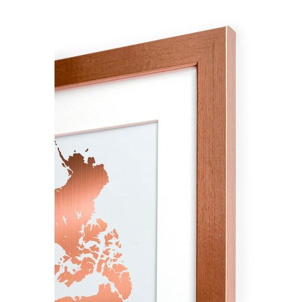 Zarámovaný plakát Really Nice Things Mapamundi Copper, 40 x 60 cm