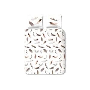Bílé flanelové povlečení na dvoulůžko Muller Textiels Feathers, 200 x 200 cm