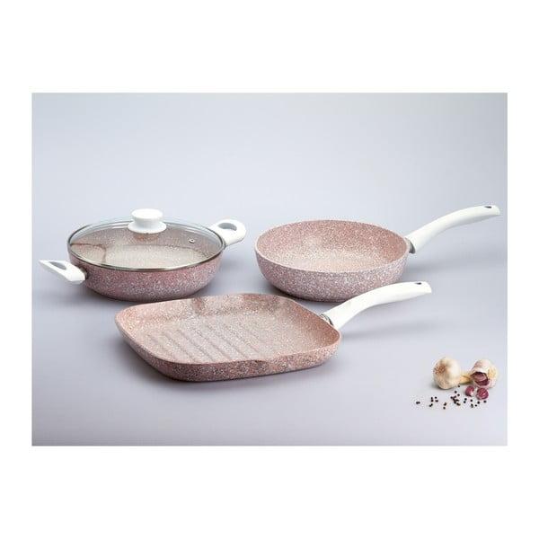 4dílný set nádobí s bílou rukojetí Bisetti Stonerose
