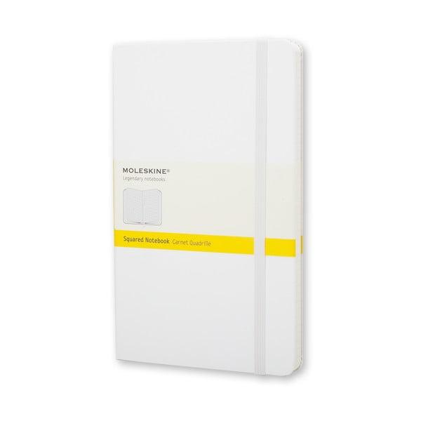Zápisník Moleskine Hard 21x13 cm, bílý + čtverečkované stránky