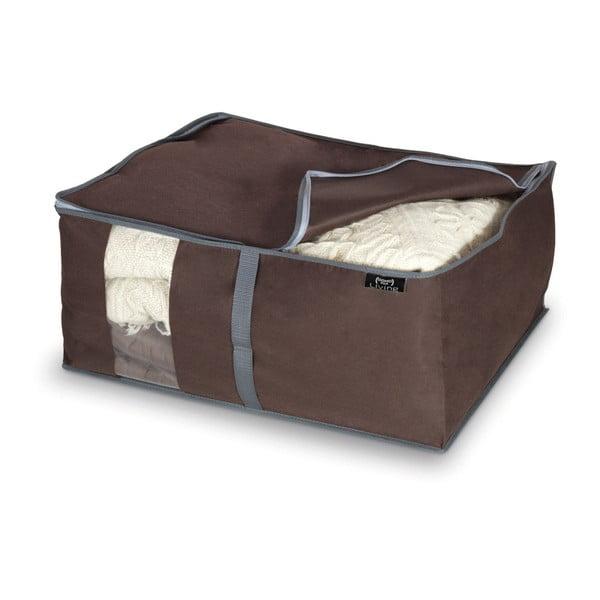 Hnědý úložný box na peřiny Domopak Living, 25x45cm