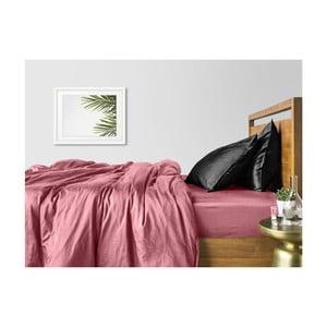 Růžovo-černé bavlněné povlečení na dvoulůžko s růžovým prostěradlem COSAS Lago, 200 x 220 cm