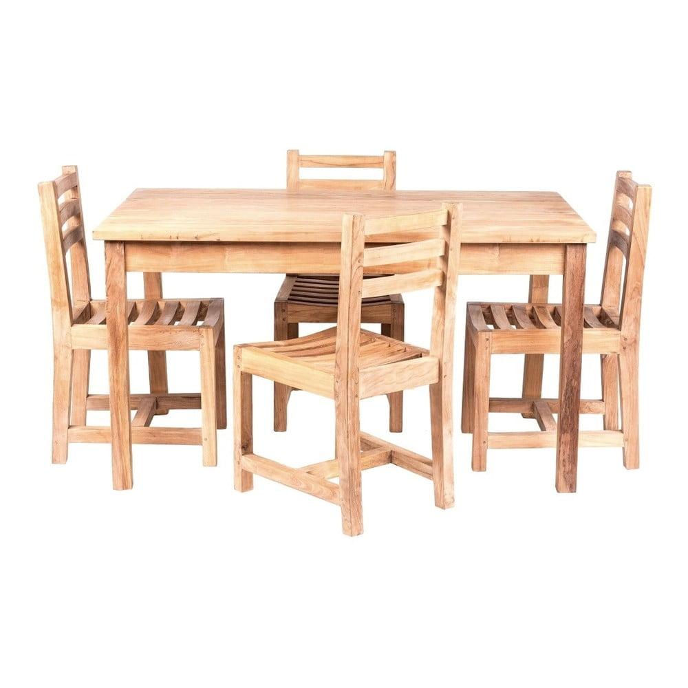 Dětský zahradní stůl se 4 židlemi z teakového dřeva Massive Home Junior