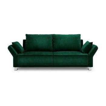 Canapea extensibilă cu înveliș de catifea cu 3 locuri Windsor & Co Sofas Pyxis, verde de la Windsor & Co Sofas