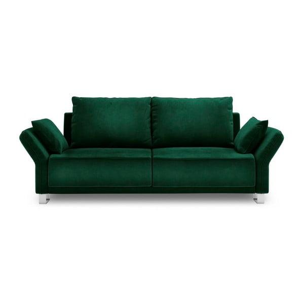 Tmavozelený trojmiestna rozkladacia pohovka so zamatovým poťahom Windsor & Co Sofas Pyxis