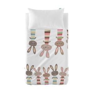 Tenký přehoz a povlak na polštář Moshi Moshi Rabbit Family, 100x130cm