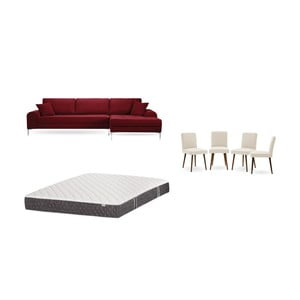 Set červené pohovky s lenoškou vpravo, 4krémových židlí a matrace 160 x 200 cm Home Essentials