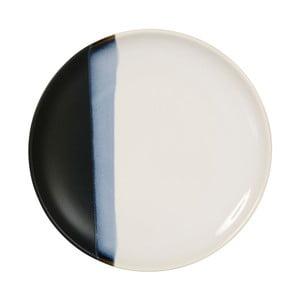 Keramický černobílý dezertní talířek Sema Ekume, 21 cm