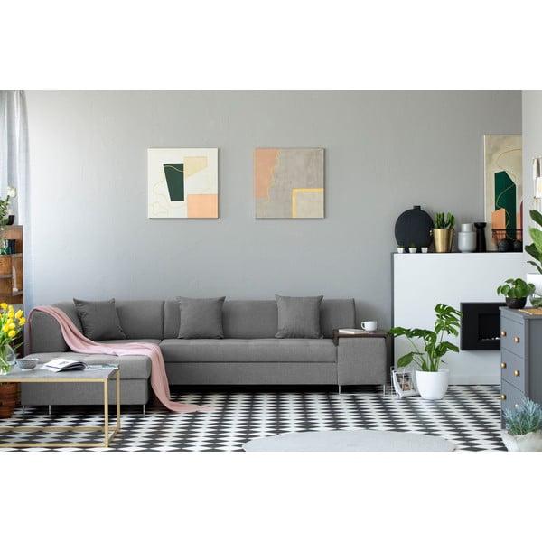 Světle šedá rohová rozkládací pohovka s nohami ve stříbrné barvě Cosmopolitan Design Orlando, levý roh