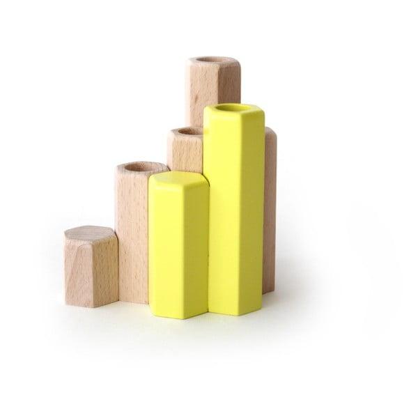 Žlutý svícen z masivního bukového dřeva HARTÔ