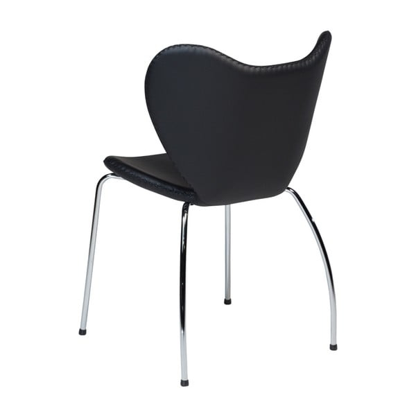 Černá jídelní židle s pochromovaným podnožím DAN–FORM Butterfly