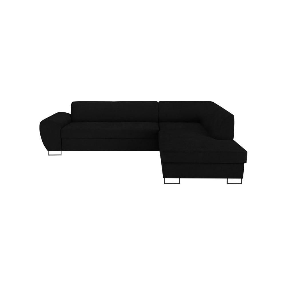 Černá rohová rozkládací pohovka s úložným prostorem Kooko Home XL Right Corner Sofa Puro