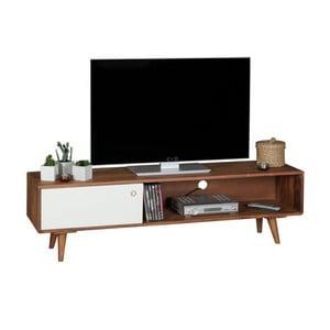Hnědo-bílá TV komoda z masivního sheeshamového dřeva Skyport REPA, výška 40 cm