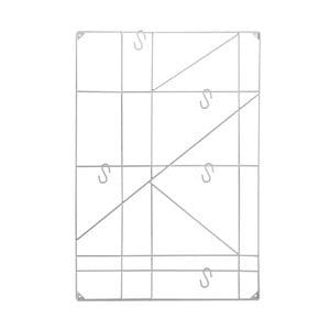 Bílý nástěnný držák s 5 háčky Versa Geometric