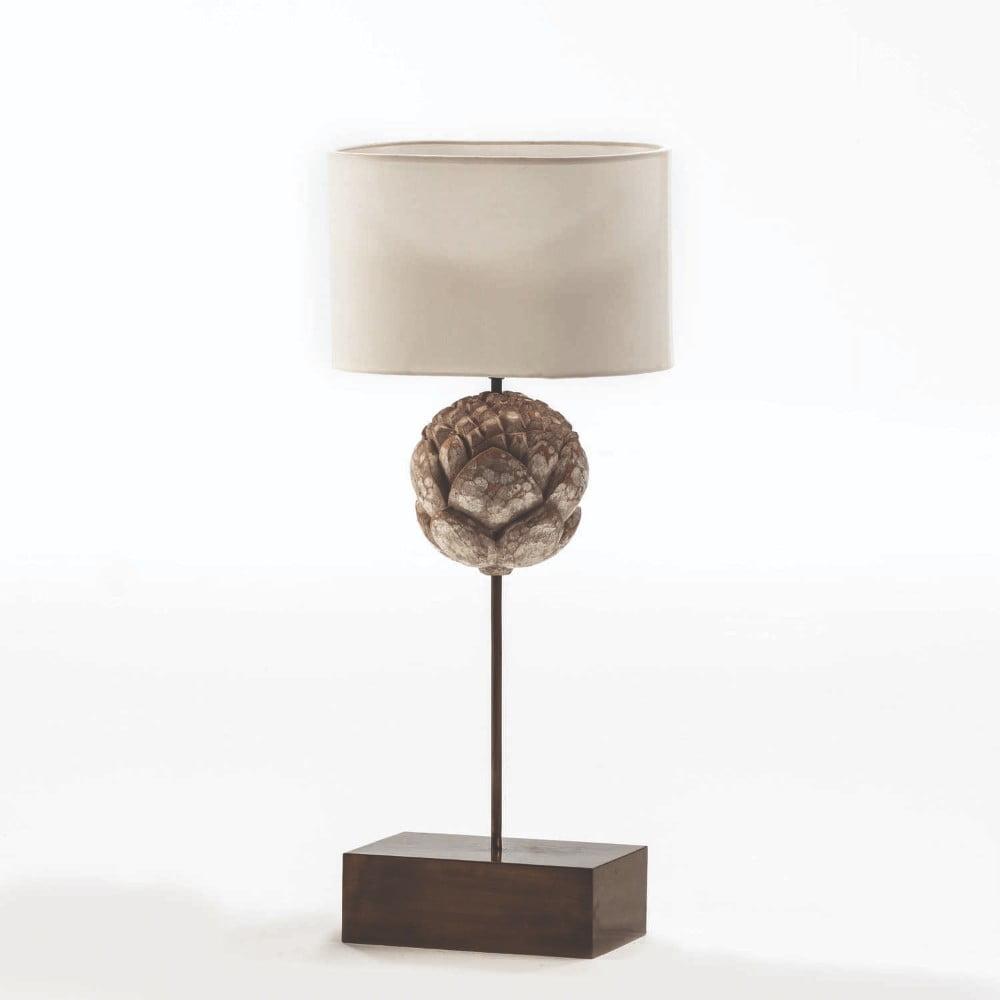 Kovová stolní lampa s bílým stínidlem Thai Natura, výška 56cm