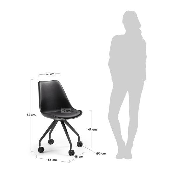 Sada 2 černých židlí na kolečkách La Forma Lars