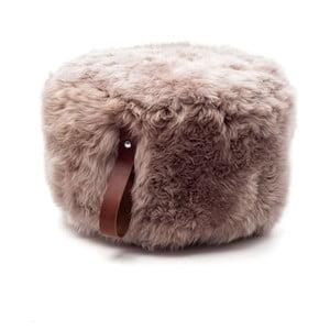 Hnědý puf z ovčí vlny s hnědým detailem Royal Dream,⌀ 60cm