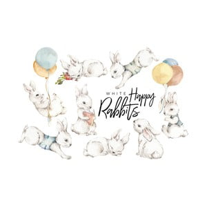 Sada 8 nástěnných samolepek Dekornik White Happy Rabbits