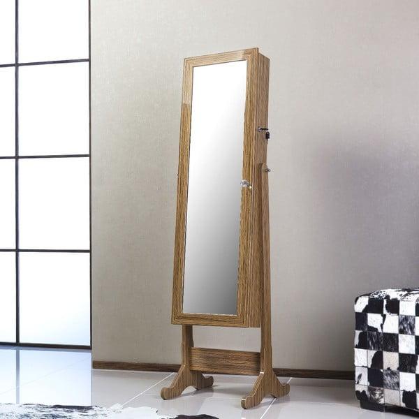 Uzamykatelné stojací zrcadlo se šperkovnicí Lavinia, olivové