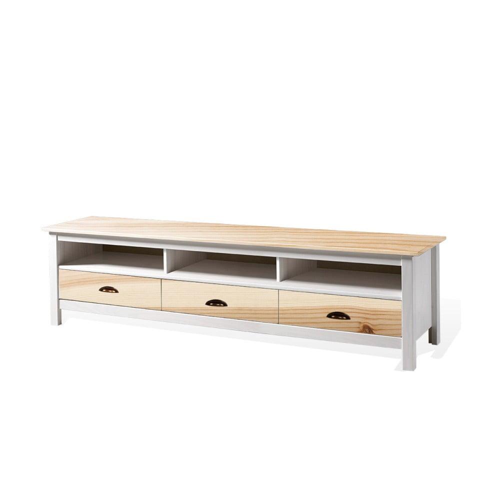 Bílý TV stolek z masivního borovicového dřeva SOB Irelia