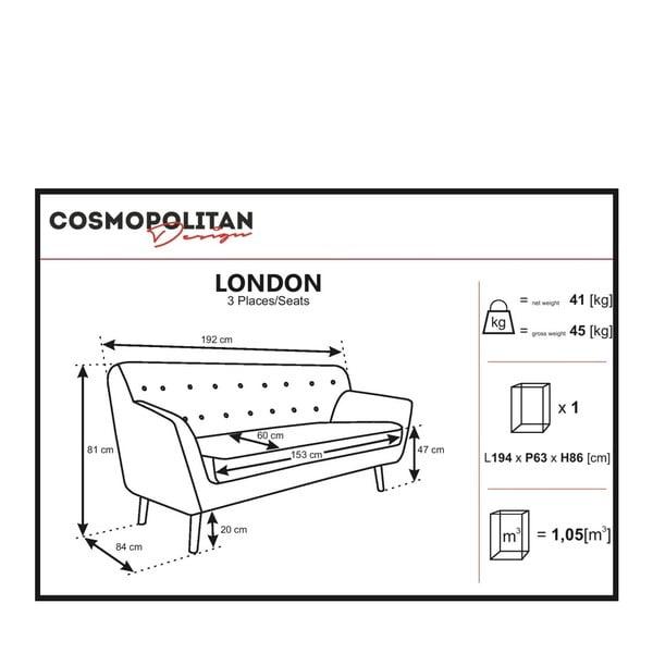 Canapea cu 3 locuri Cosmopolitan design London, roz deschis