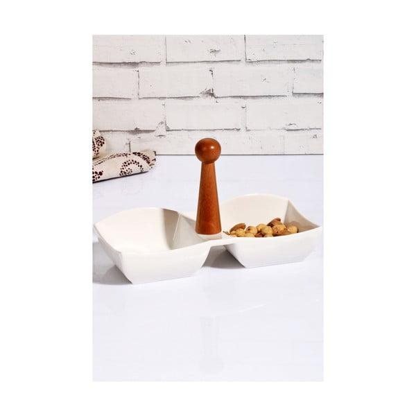 Porcelánová miska na oříšky s bambusovým držákem Marinos