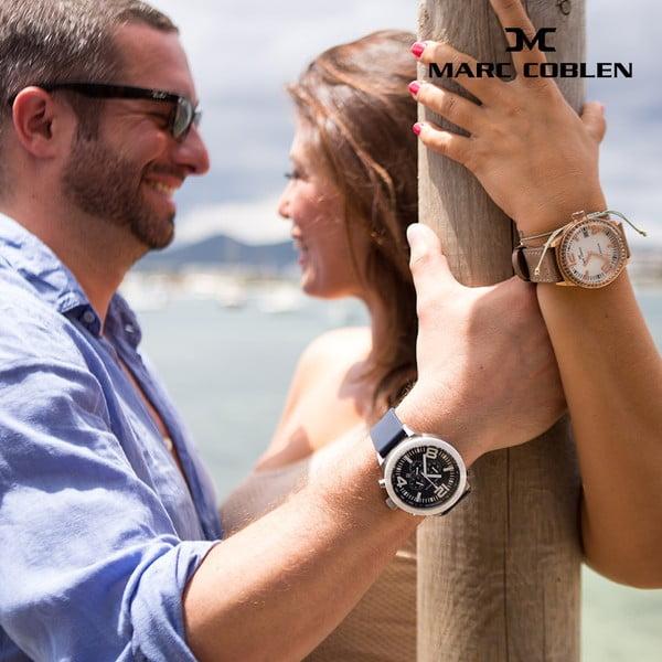 Pánské hodinky Marc Coblen s páskem a kroužkem navíc P18